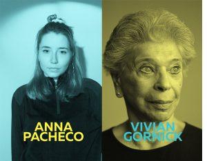 Imagen del ciclo Oh diosas amadas de Anna Pacheco de color azul y Vivian Gornick de color amarillo.