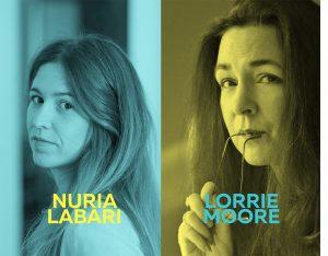 Imagen del ciclo Oh diosas amadas de Nuria Labari de color azul y Lorrie Moore de color amarillo.