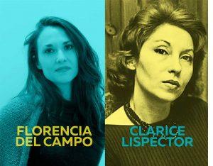 Florencia del Campo con fondo azul y Clarice Lipector con fondo amarillo, imagen del ciclo Oh diosas amadas