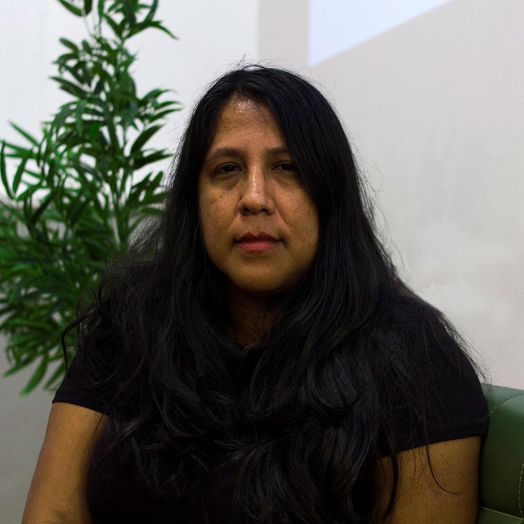 Retrato de Gabriela Wiener durante los Encuentros literarios Letraheridas en Katakrak 2020, en Pamplona.