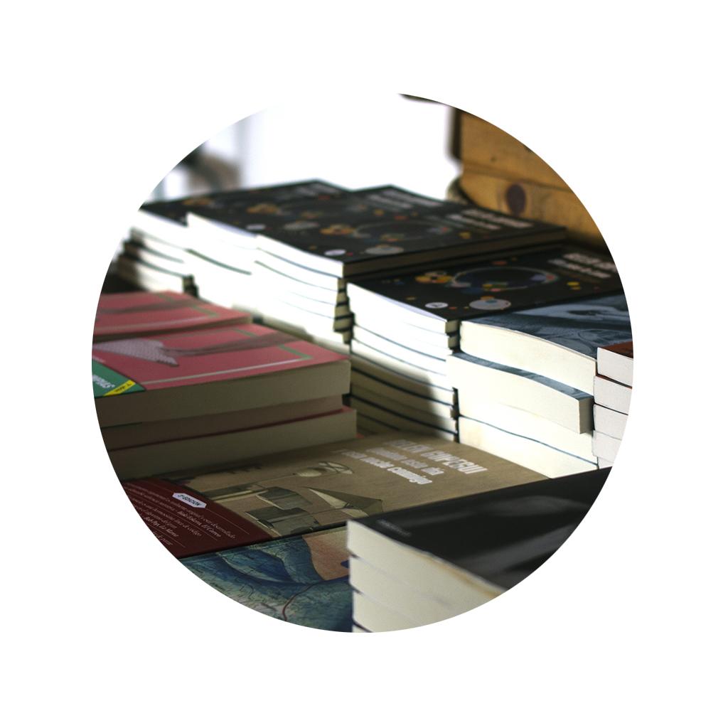 Imagen con máscara redonda en el que hay varios libros apilados en bloques de Belén Gopegui y Anna pacheco, durante lo encuentros Letraheridas 2020.