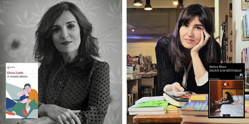 Elvira lindo con su novela 'A Corazón abierto' y Barbara Blasco con su novela 'Dicen los síntomas'.